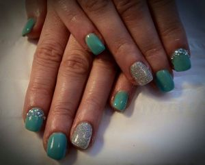 Aqua Blue with Glitter