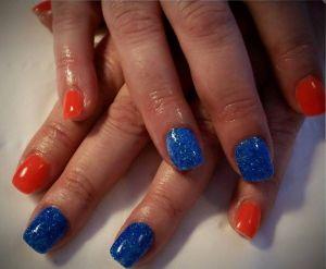 Neon Orange & Blue Glitz Gels